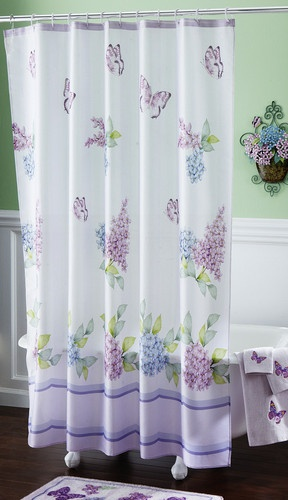 lilac butterflies bathroom fabric shower curtain home decor accent new i5852 ebay - Bathroom Ideas Lilac
