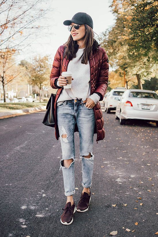 fall outfit, winter outfit, travel outfit, comfy outfit, airport outfit, winter vacation outfit, comfy outfit, athleisure outfit, game day outfit, fall trends 2016, winter trends 2016 - black baseball cap, aviator sunglasses, burgundy puffer jacket, grey sweatshirt, distressed boyfriend jeans, nike burgundy sneakers, black shoulder bag