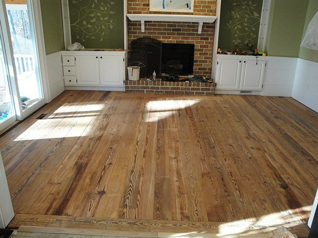 Installing the Antique Heart Pine Flooring