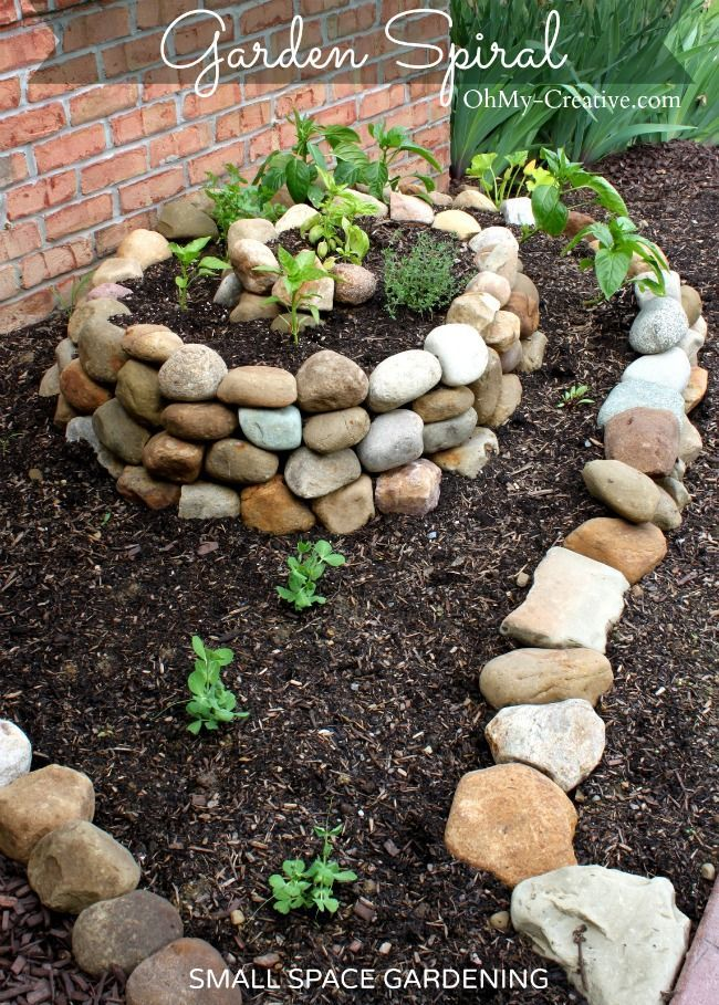 DIY Garden with cobble stones