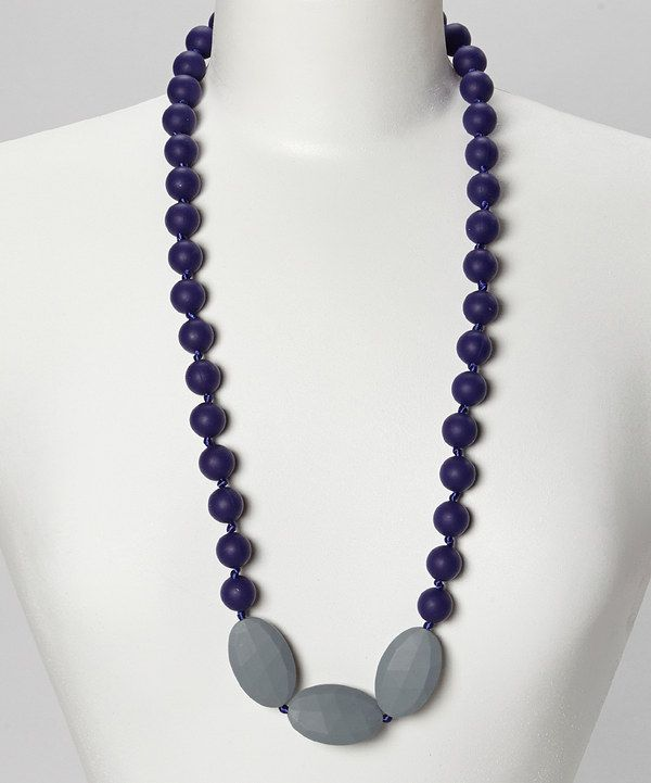 Look at this Navy Blue & Gray Brooklyn Teething Necklace - Women on #zulily today!
