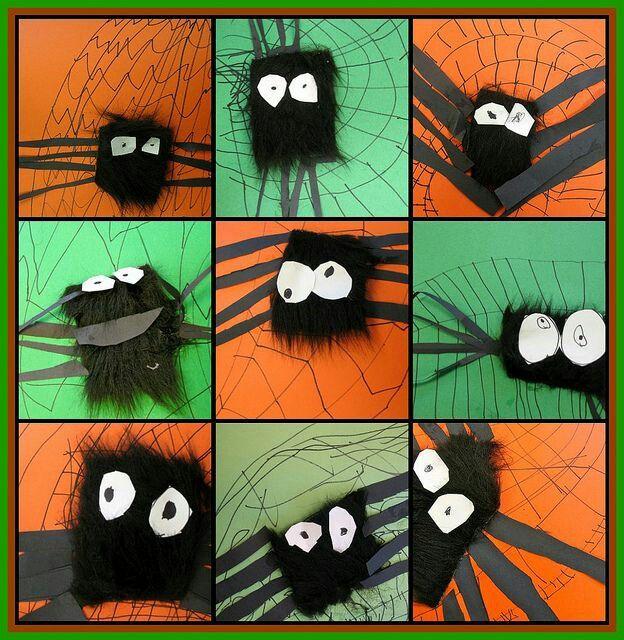 kinderen tekenen zelf het web. Prikken of knippen de poten en de ogen van de pin