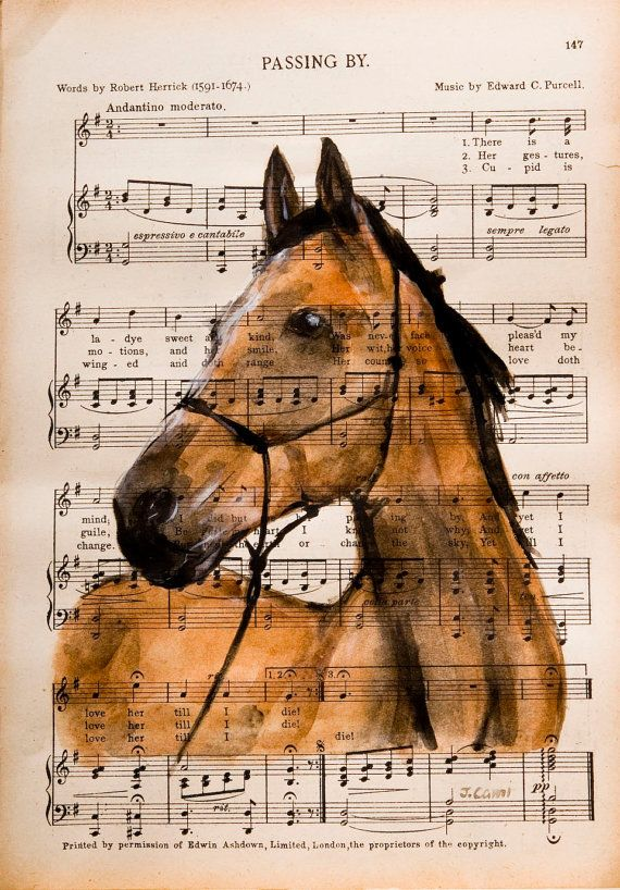 """Original Watercolor Painting on Antique Book Page from The Scottish Student Song Book 10"""" x 7"""" """"Horse I"""" Hand Painted and signed by the artist Julia Cami. Approx. Size: 10 1/2"""" x 7 1/2"""" UNFRAMED © Art Enchanted Woods"""