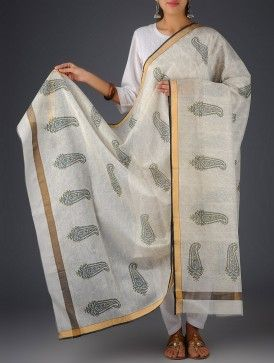 Ivory-Black Cotton Silk Paisley Floral Block Printed Dupatta