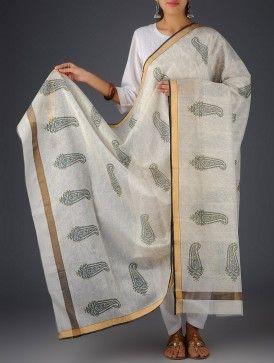 Ivory-Black Cotton Silk Paisley Floral Block Printed Dupatta