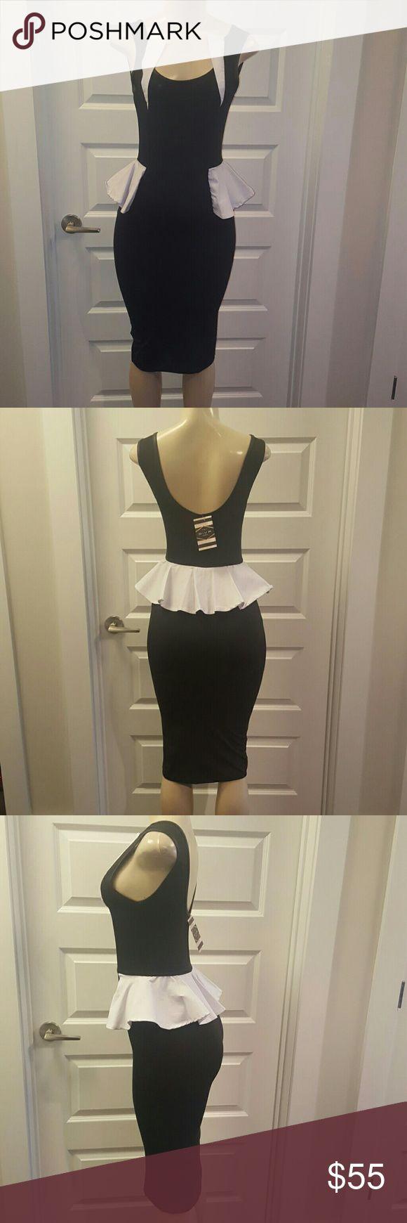 NEW Black & White Peplum Midi Dress Chic Midi Peplum black & white dress Dresses Midi