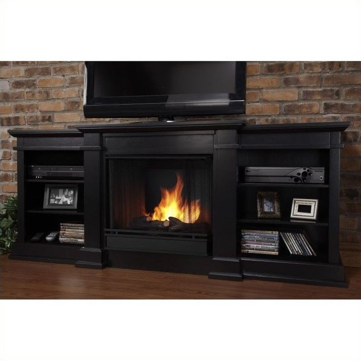 "Lowest price online on all Real Flame Fresno 72"" Indoor Gel TV Stand Fireplace in Black - G1200-B"