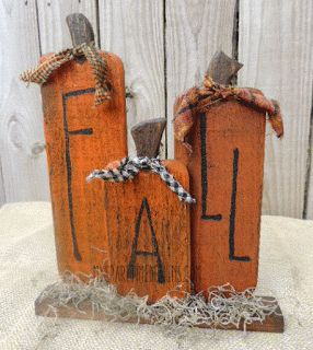 Primitive wooden fall pumpkins by My Spare Time Designs
