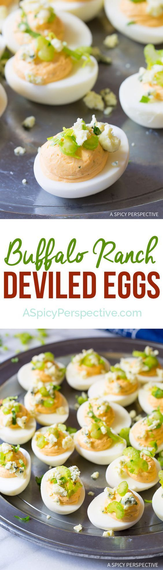 Bold Creamy 6-Ingredient Buffalo Ranch Deviled Eggs Recipe | ASpicyPerspective.com #rancheverything @hvranch