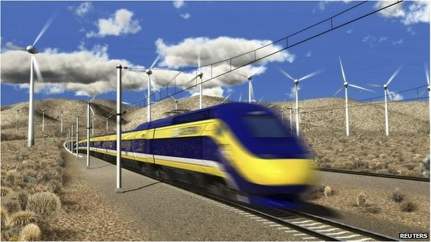 The US's first hight speed train. An artist's rendition courtesy of the California High-Speed Rail Authority 6 July 2012