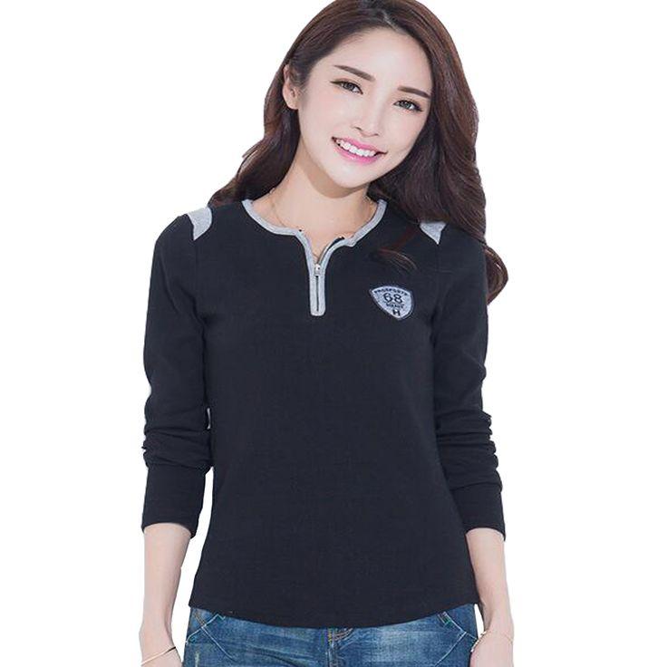 5XL Lady Long Sleeve Women T-shirts Plus Size Women Clothing Tshirt Black Tees O Neck Zipper Elegant Women Tops Big Sizes