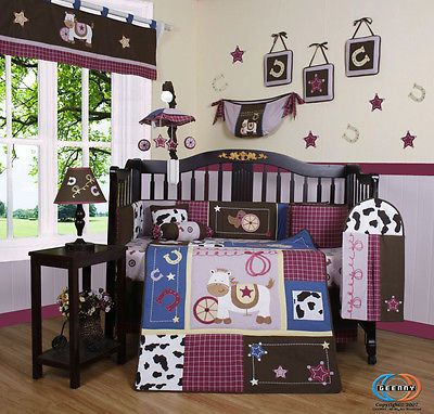 14PCS Horse Western Cowgirl Baby Nursery CRIB BEDDING SET - Including Lamp Shade