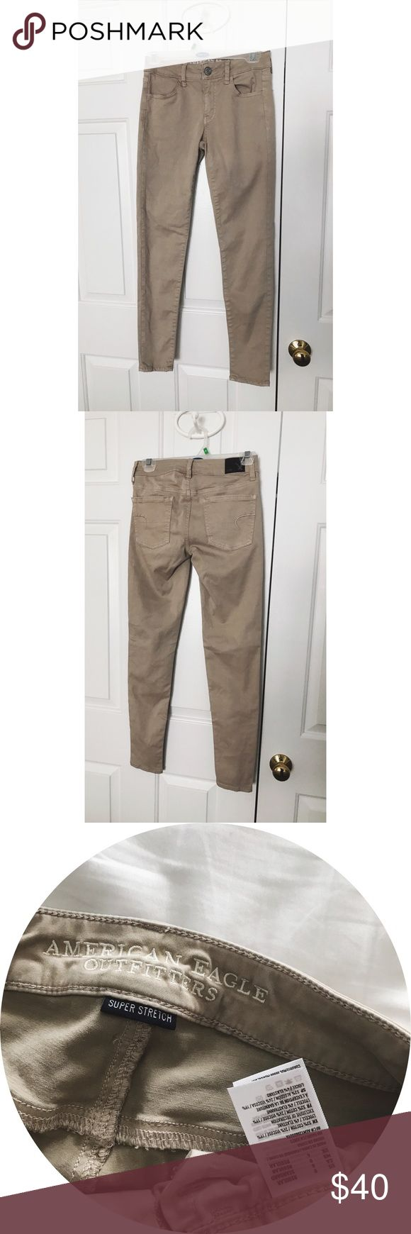 """American Eagle Super Stretch Khaki Jeggings nwot, never worn. known as """"super stretch soft jeggings"""". although american eagle sells various khakis, this specific pair of khakis are no longer sold online or in stores. perfect addition to a work/school uniform or every day wear!  🚫NO TRADES / HOLDS 🚫NO MODELING 🚫NO PP / MERC / OTHER PAYMENT OPTIONS ✅Questions welcomed (other than those listed above) ✅1-2 business day(s) shipping ✅offers welcome / price negotiable ✅3 items or more - 15% off…"""