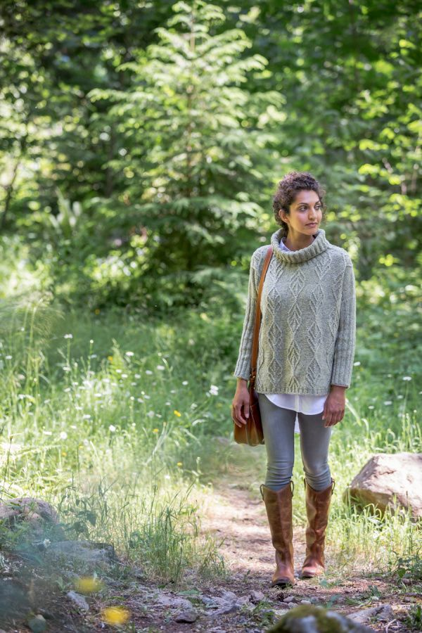 Birch Bay cabled turtleneck pullover by Julie Hoover. Shown in color…