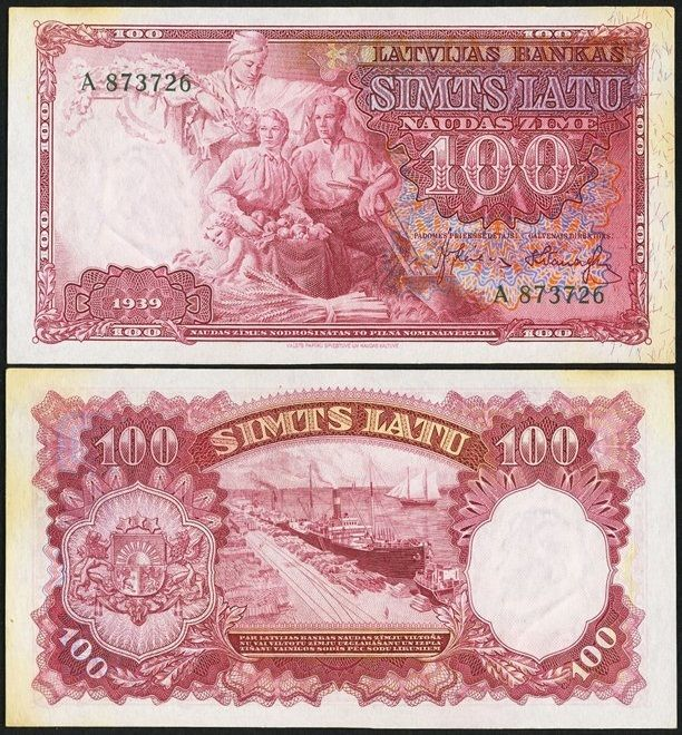 Latvia Latvijas Bankas 100 Latu 1939 Pick 22a. A note that saw three different occupations during World War II. Uncirculated, with aging in the margins.