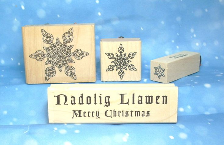 Welsh Christmas Rubber Stamp Set of 4 with Celtic Trinity Knot Snowflakes and Bilingual Merry Christmas Nadolig Llawen Greeting RSS49 by Triskelt on Etsy https://www.etsy.com/listing/258401445/welsh-christmas-rubber-stamp-set-of-4