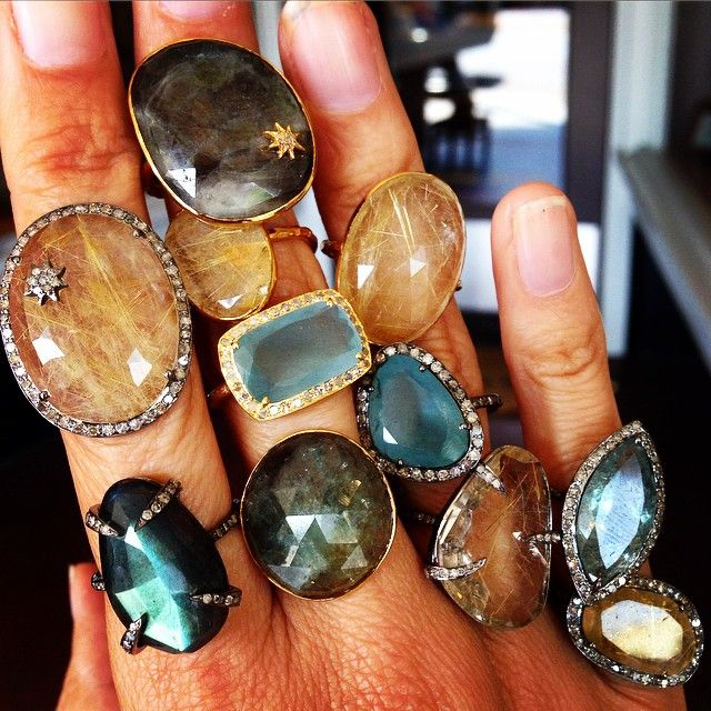 Stack to the heavens....#robindiraunsworth #robindira_unsworth #summer15 #oneofakind #rutilatedquartz #aquamarine #sapphire #labradorite #diamonds #champagnediamonds #mixedmetals #ringparty #ring #stacktothestars #stackingrings #ringlove #love