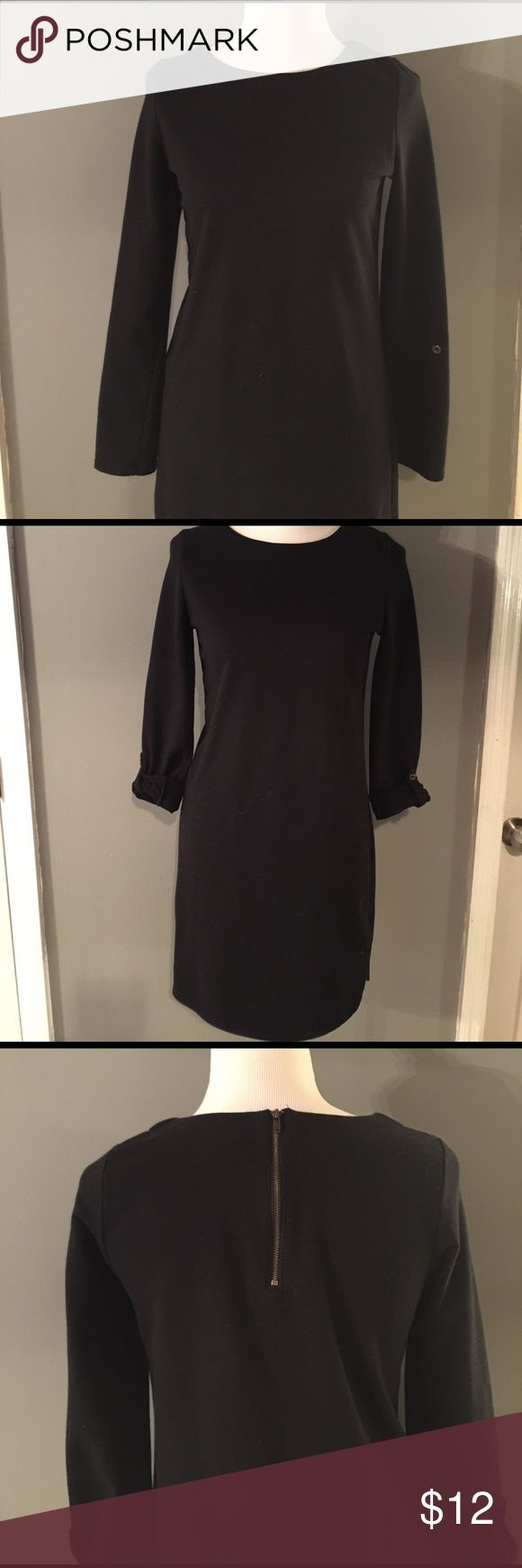 Merona Black Sweatshirt Dress Comfy little black dress. I wear with camel colored flip flops or tan loafers for an easy spring look! Can be layered to wear year round. Comfy and so stylish! Merona Dresses