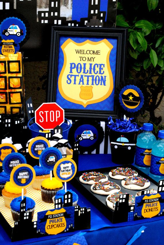 POLICE Party  WELCOME Sign  Policeman Birthday  by KROWNKREATIONS