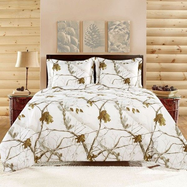 Realtree Camo Comforter Set (White) ($54) ❤ liked on Polyvore featuring home, bed & bath, bedding, comforters, white, king comforter set, white king size comforter, king size comforter, king comforter and white comforter sets