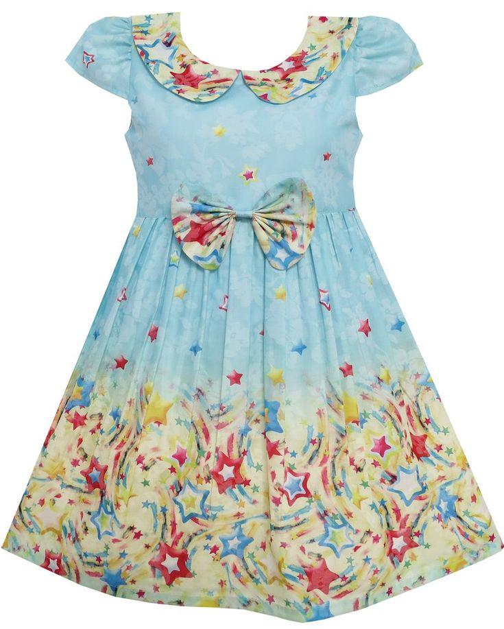 Girls Dress Star Sky Print Turn-down Collar Short Sleeve Blue Size 4-10 Years
