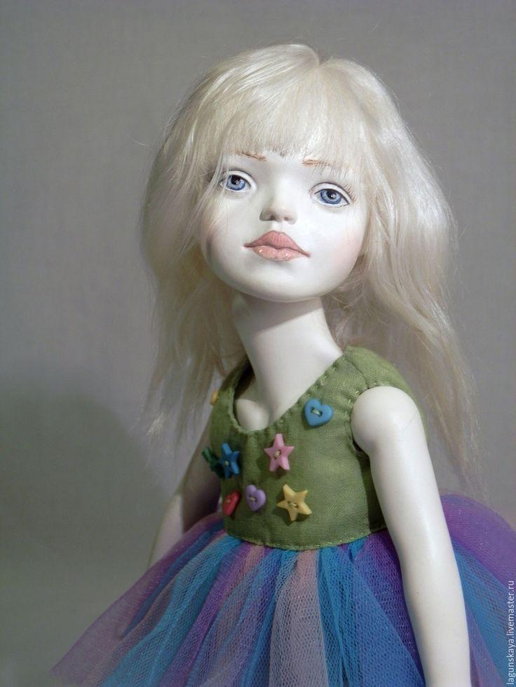 Купить Аника - комбинированный, голубой цвет, синеглазая девочка, кукла в подарок, ведьма, хеллоуин, конфеты