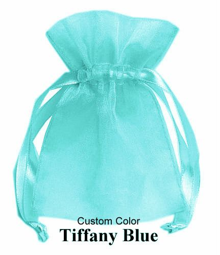 50 pieces Hand dyed, Custom color, Tiffany Blue Green Aqua Organza Gift Wedding Bags, For that wedding or party you're planning! 2x3 Inch high sheen quality silk organza heart gift bags can be filled