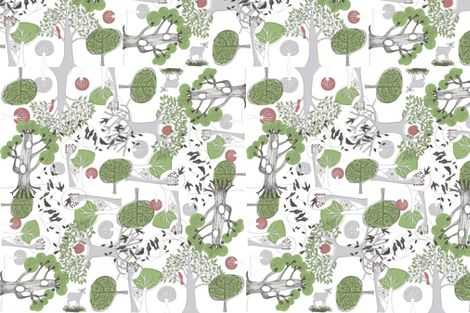 Wild Wood - Olive fabric by mollymacliving on Spoonflower - custom fabric