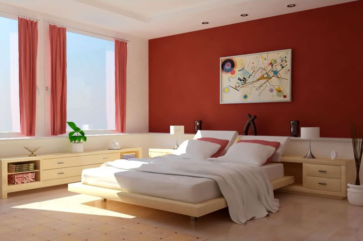 Stunning Modern Style Bedroom Colours For 2013 Red White Interior Color Finished In Design With Large Glass Panel Equipped Floating Bed