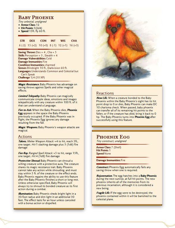 New Familiar Option - Baby Phoenix : UnearthedArcana
