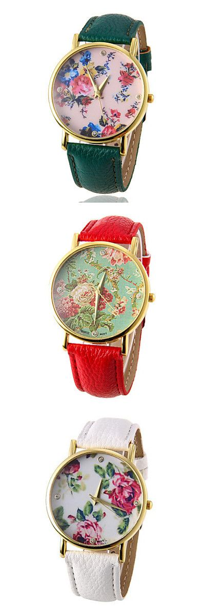 Unique floral print faced watches are so lovely! Pair with a delicate dress in similar shades. Choose your favorite!