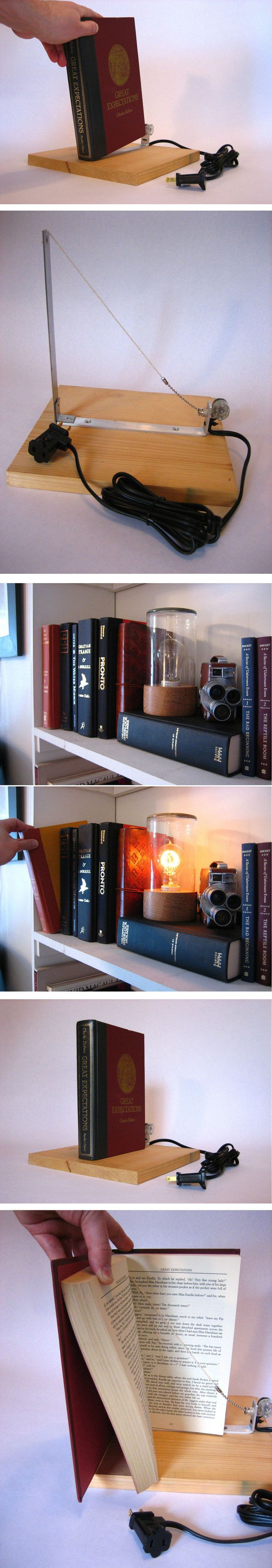 Secret Bookshelf Light Switch, linked to the Instructables web site with the step by step.