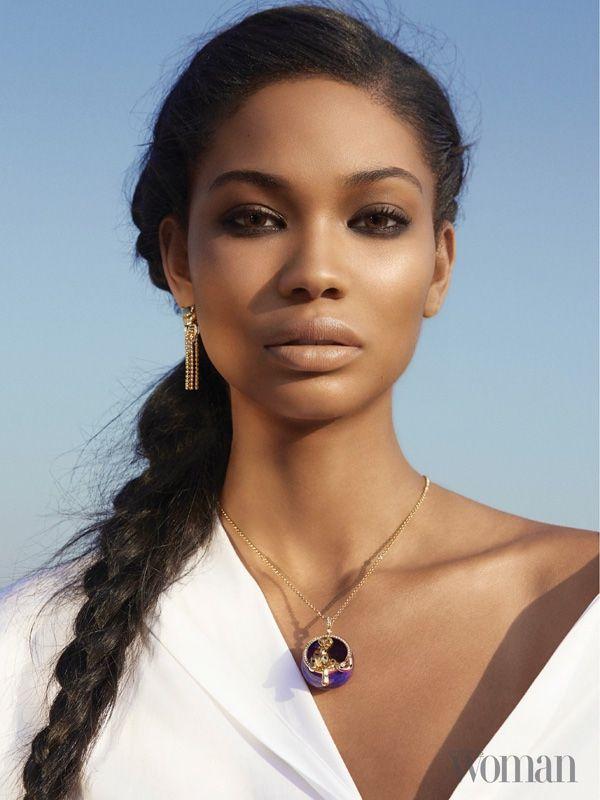 Getting her closeup, Chanel Iman wears a fishtail braid