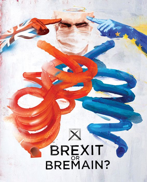 a surgeon trying to decide to vote leave or stay over the brexit referendum poll. brexit remain politics eu european union danny allison illustration.