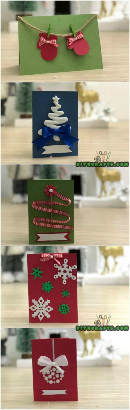Send Your Season's Greetings In Style With These 5 DIY Christmas Cards #Christmascards #crafts #papercrafts #Christmascrafts via @vanessacrafting