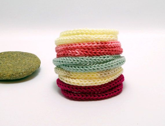 knitted bracelet / gradient bangle / knit jewelry / by EvaSinai