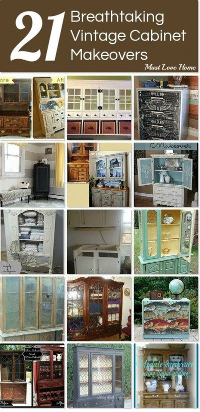 Love furniture makeovers? You MUST see these gorgeous Vintage Cabinet Makeovers! The creativity is amazing and will give you so much inspiration for your own projects!