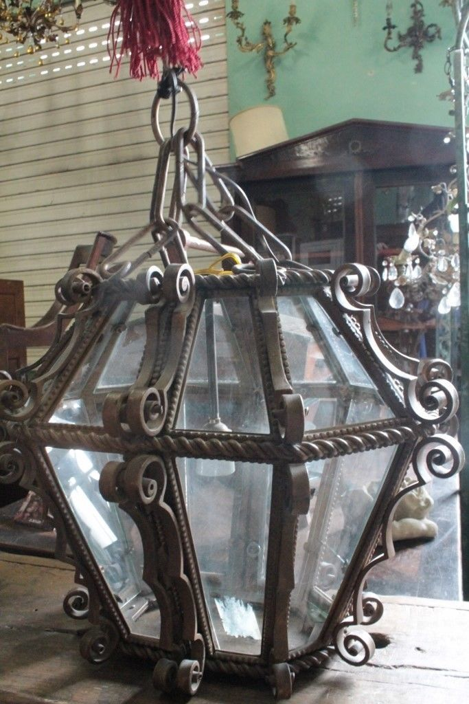 ANTICO LAMPADARIO A LANTERNA FERRO FORGIATO EPOCA INIZI DEL 900 ANTIQUE LAMP in Arte e antiquariato, Arredamento d'antiquariato, Complementi d'arredo | eBay
