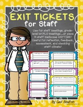 """Need  a quick way to receive some feedback, reflection, assessment, or maybe to check on your staff climate? Download these ready-made exit tickets! Use for staff meetings, grade-level, PLC meetingsor place in staff mailboxes ANYTIME!INCLUDED IN THIS FILE:*Twelve different questions (three tickets per page) six different color backgrounds*Two pages of tickets (six different colors) to fill out your own questions***BE SURE TO CHECK OUT MY """"EXIT TICKETS FOR STUDENTS"""" AT MY TPT SHOP***HOW TO…"""