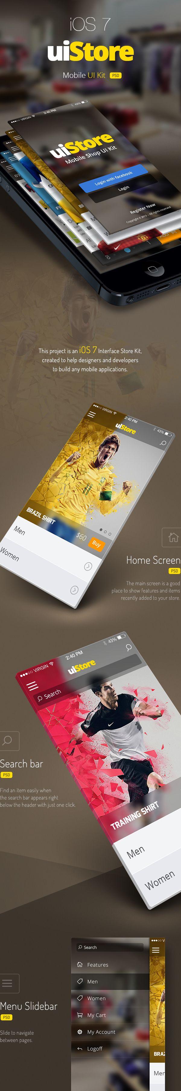 uiStore » iOS7 UI Kit by Rodrigo Santino, via Behance