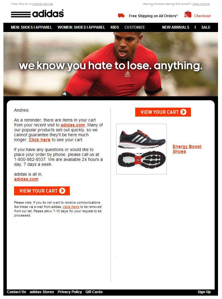 Adidas carretto abbandonato e - mail email newsletter esempi e - mail
