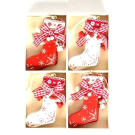 Gingham Stocking Hanging Christmas Tree Decorations Set of 8