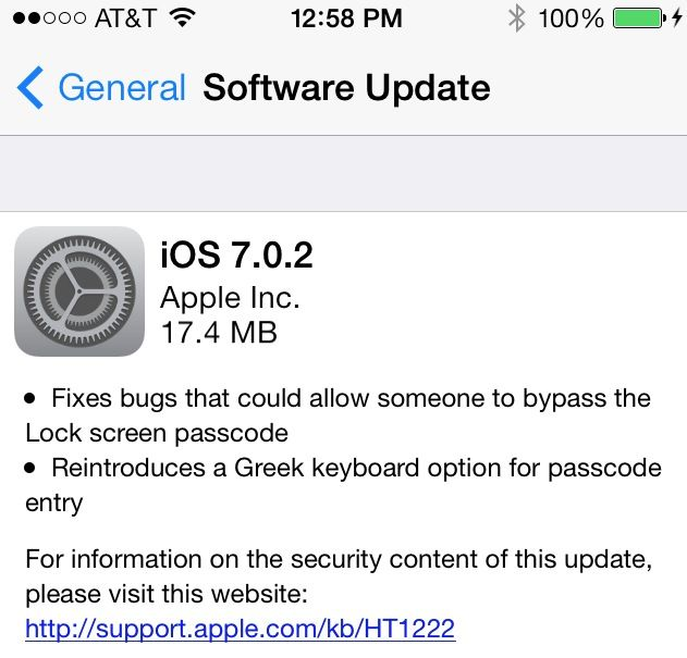 Apple Releases iOS 7.0.2 with Fix for Lock Screen Passcode Bypass