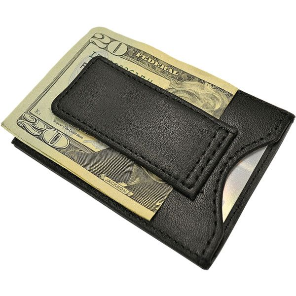 Slim Luxury Magnetic Money Clip Walle ($40) ❤ liked on Polyvore featuring men's fashion, men's accessories, men's money clips, black, mens leather money clip and mens leather accessories