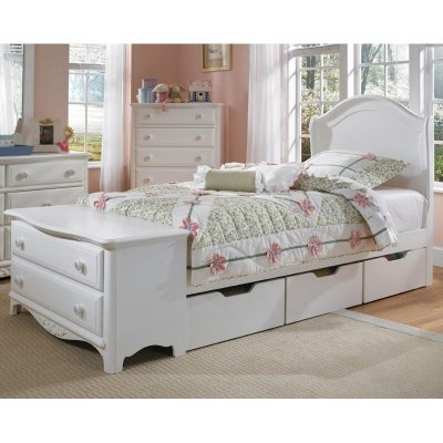 Sweet dreams are made of this: the Lea Haley Panel Bed with Dresser Footboard Collection in your home where you can feel cozy safe and warm. Choose your own combination of furniture pieces to suit your needs. Pieces of this well-constructed collection can be purchased in a number of different configurations. In all the pieces you'll notice graceful lines and delicate hand-carved details that make this a perfect bedroom set for your favorite young