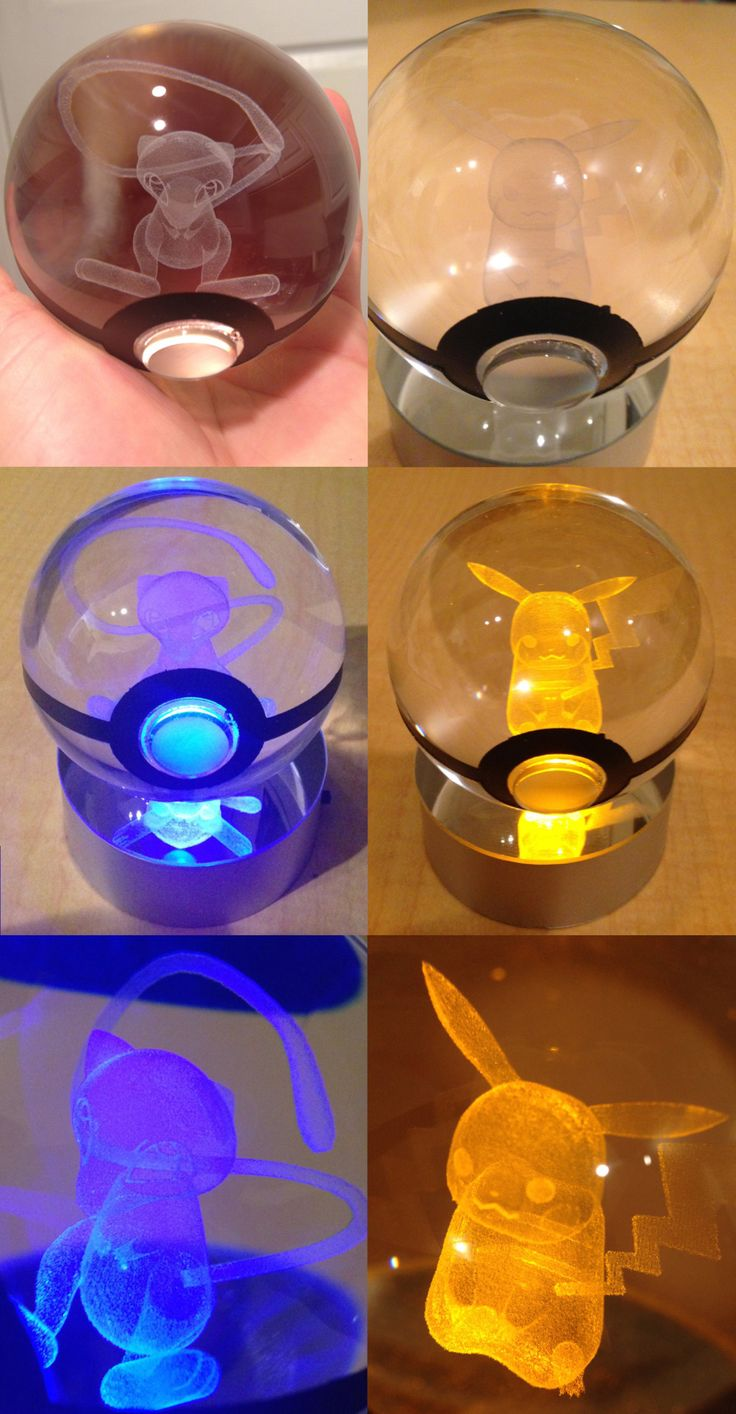 LED Pokeball with Pokemon Inside Light up your room the way a true Pokemon Master would with a truly unique piece of art. LED light shines through the crystal Pokeball - illuminating the 3D...