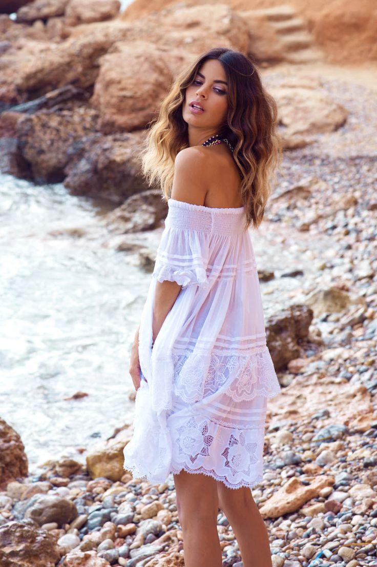 Anjuna gathered off the shoulder dress - Lilylola Beachwear Boutique