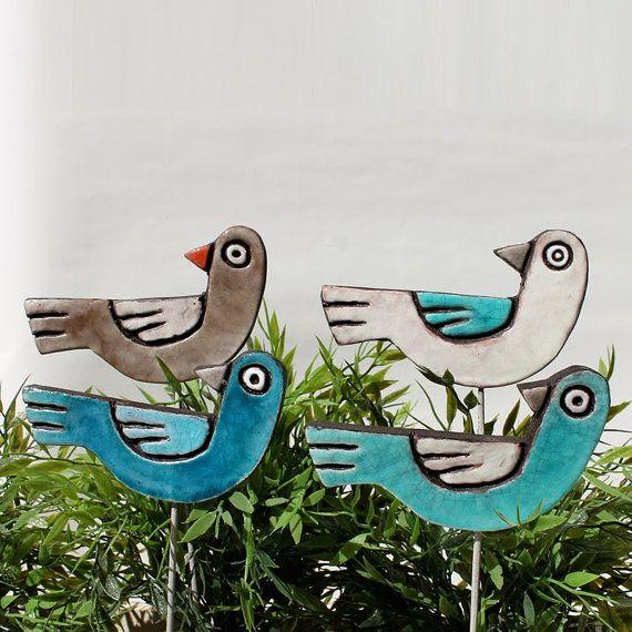 ceramic bird  turquoise- homewares - handmade ornament - garden bird - plant stake - bird wall art - outdoor frost resistant bird