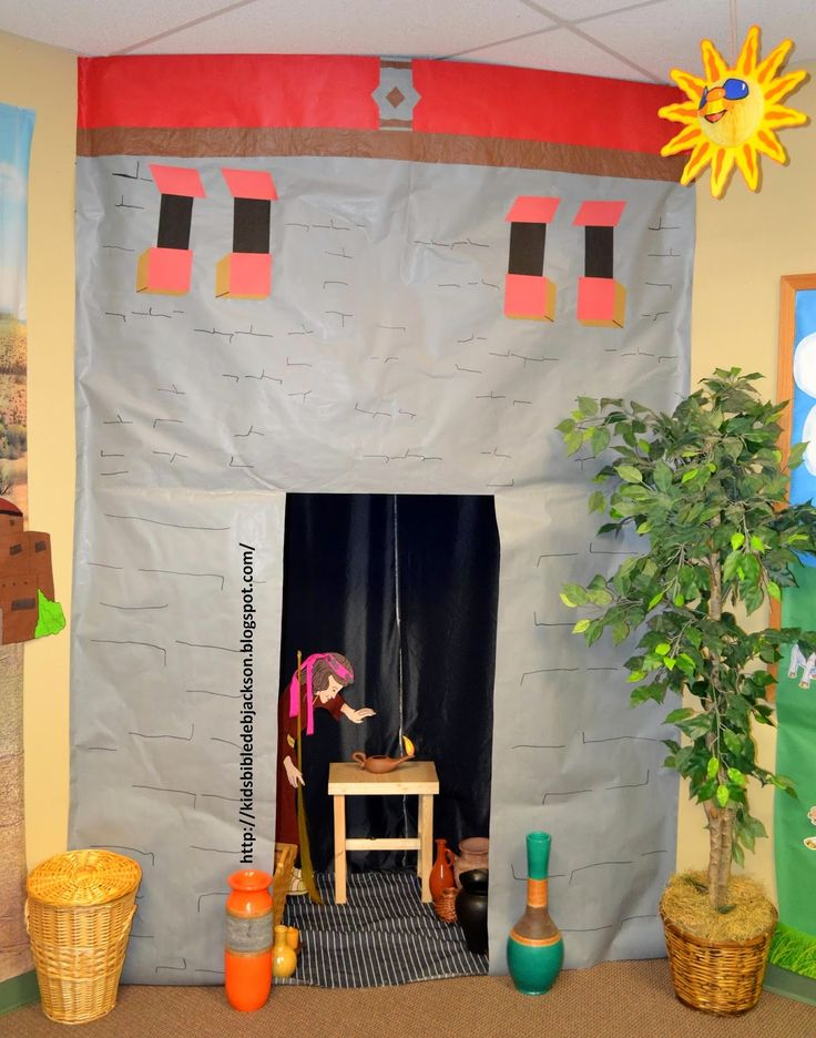 Lost coin house, great for any Bible house - transfer the outside of any classroom to look like a Bible times home. Decorating themes for Bible stories.