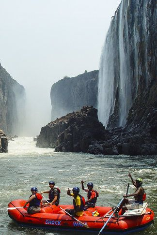 Zambezi: the biggest river in Southern Africa. River Rafting is popular.